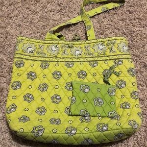 Vera Bradley Green Quilted Tote and Coin Purse